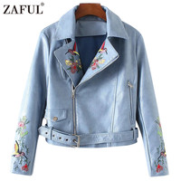 ZAFUL 2017 New Spring Winter Faux Leather Jacket Embroidered Lapel Collar Inclined Zipper Coat Women Bomber Motorcycle Jackets