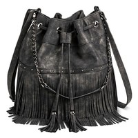 Women's Fringe and Stud Crossbody Handbag with Drawstring Closure and Tassel - Black