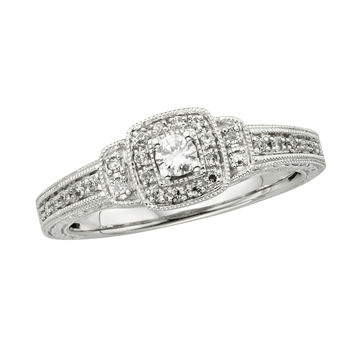 1/4 CT. T.W. Diamond Frame Vintage-Style Promise Ring in 10K White Gold