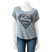 Jerry Leigh Striped Superman Crop Tee - Juniors