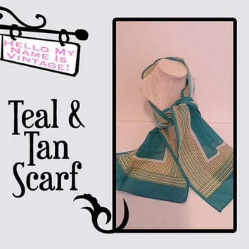 Teal and Tan Scarf- Head Scarf- Vintage Accessory- Retro Fashion- Vintage Scarves- Head Wrap- Belt Scarf- Turquoise Scarf- Retro Mod