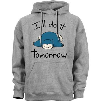 Video Game Men Unisex  Snorlax Snorlax i'll do it tomorrow Sweatshirts Hooded Hoody Casual funny Novelty Outerwear 410Kawaii Pokemon go  AT_89_9