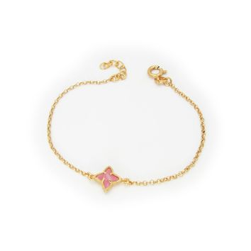 Flamingo Flower Crystal Bracelet dipped in Gold