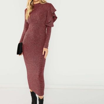 One Side Ruffle Open Shoulder Marled Knit Dress