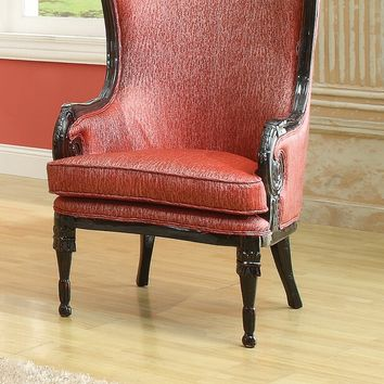 A.M.B. Furniture & Design :: Living room furniture :: Accent chairs :: Pawnee III neo classic red fabric and black finish wood frame wing back accent side chair with carved wood design trim