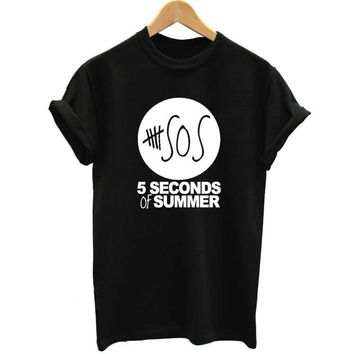 Fashion Summer 5 Five Seconds Of Summer 5 SOS Cotton T-Shirt