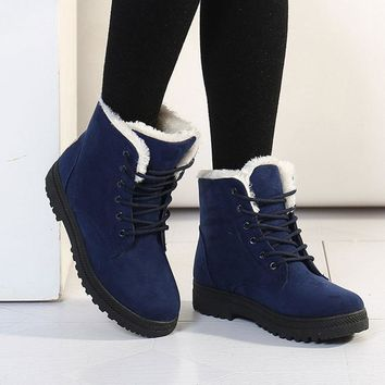 Women boots 2016 new arrival women winter boots warm snow boots fashion heels ankle bo
