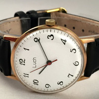 "Sleek Vintage Men's ""RAY"" (Luch)  wristwatch. Classic dial, round face, mechanical USSR watch. Gift for him"