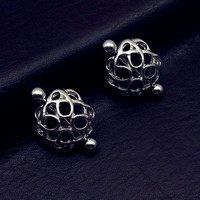 Unique Nipple Shield Hollow Silver Plated Nipple bar Ring Piercing Surgical Steel body Jewelry 2017 Fashion