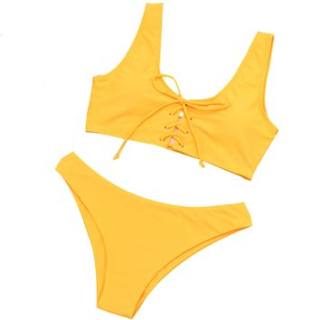 Summer New Fashion Solid Color Straps Vest Two Piece Bikini Swimsuit Yellow