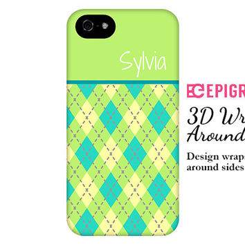 Personalized iPhone 6 case, argyle iPhone 6 plus case, lime iPhone 5c case, iPhone 4s phone cases, Phone 5s case, argyle Galaxy S6 case