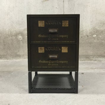 Vintage Industrial End Table Graham Paper Co. Drawers with Tube Steel Legs and Mesh Shelf