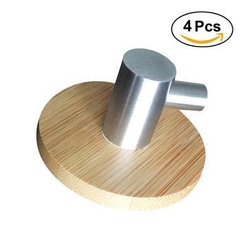4pcs L Shaped Adhesive Hooks Bamboo Wood & Stainless Steel Wall Hangers For Clothes Towel Holder For Home Kitchen