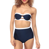 Navy Two Toned Push Up High Waist Swimsuit