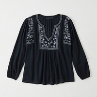 Womens Embroidered Peasant Top | Womens Clearance | Abercrombie.com