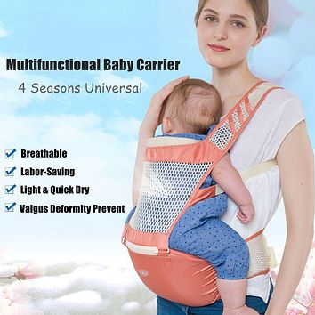 Universal Breathable Baby Carrier Multifunctional Infant Sling Carrier Soft Hip Seat Kangaroo Backpack Baby Carrier Labor Saving