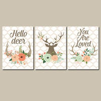 Deer Flowers Wall Art CANVAS or Prints Nursery Hello DEER Floral You Are Loved Modern Girl Nursery Wall Art Set of 3 Crib Artwork