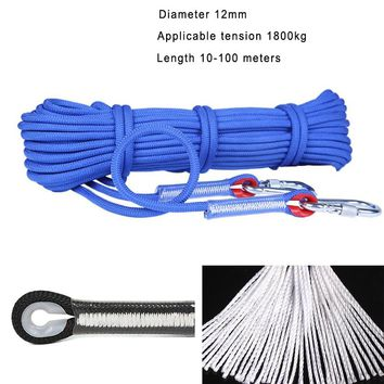 Professional Climbing Cord 12mm Diameter 18KN 10-100 meters High Strength polypropylene Paracord Safety Rope with 2pcs Buckle