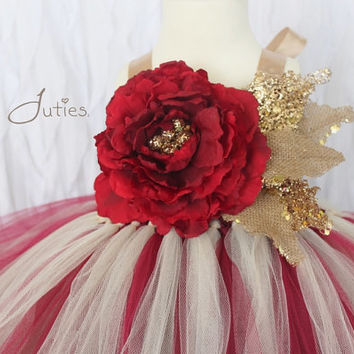 Red, Burlap, Cream, Burgundy, Tan, Gold, Ivory, Brown, Tutu Dress- Flower Girl, wedding, Pageant dress, Birthday, toddler, girl