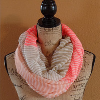 Orange-Coral And Khaki Color Block Stripe Infinity Scarf, Coral Scarves, Light Weight Scarf, Womens Accessories, Infinity Scarves