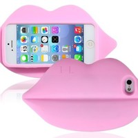 Sky Buddy 3D Lips Design Silicone Protective Case for iPhone 5S/5 (Pink)
