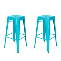 Metal Counter Bar Stools Blue 30-inch (Set of 2)