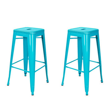 Metal Counter Bar Stools Blue inch Set of 2
