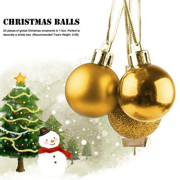 24pcs/ lot 3cm Christmas Tree Decor Ball Bauble Hanging Matte Xmas Party Home Ornament decorations gift GOLD/SILVER