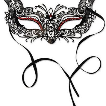 Metal Filigree Masquerade Mask - Black Ribbon Ties #03245
