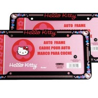 A Set of 2 Plastic Glitter Automotive License Plate Frame - Sanrio Love Hello Kitty Hearts