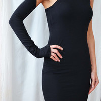 Sexy Black Dress One Sleeve One Shoulder Dress Night out Dress Black Party Dresses Womens Dresses Little Black Dress Extra Long Sleeve