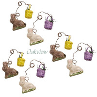 Primitives By Kathy Bitsy Bunnies With Baskets Easter Egg Ornaments Set of 6