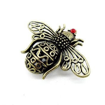 Womens Vintage Steampunk Bronze Bee Insect Statement Brooches 1Pc