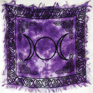 "Small Triple Moon Altar Cloth 18"" x 18"" Ritual Tool Wicca Pagan Witch Ritual supplies"