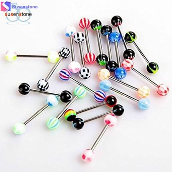 """SUSENSTONE"" 30PCS Colorful Stainless Steel Ball Barbell Tongue Rings Bars Piercing Cosmetic"