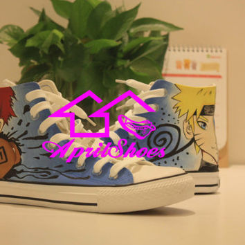Naruto Converse, Naruto Stuff, Custom Naruto Sneakers, Gaara Shoes, Hand Painted Shoes High Top with Naruto Uzumaki Design Amazing Anime