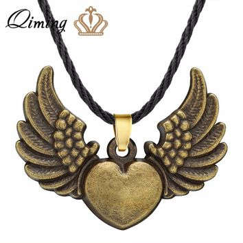 QIMING Love Heart Angle Wings Necklace For Women Sweet Jewelry Viking Bronze Color Classic Vintage Girls Boho Necklaces