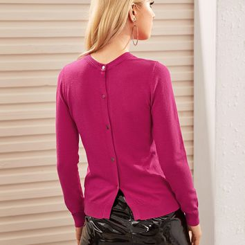 Button Back Solid Sweater