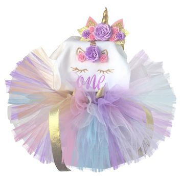 Unicorn Baby Girl Clothes Dress Toddler Girls First Birthday Outfits Baby Bodysuit/Romper Tutu Headband Dresses vestido bebes