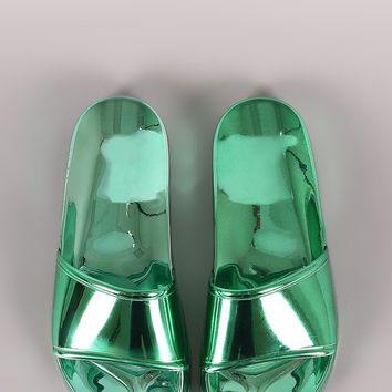 Shiny Metallic Jelly Slide Sandal