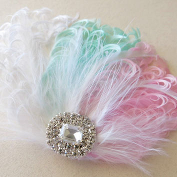 Bridal Hairpiece, Feather Fascinator, Wedding Hairpiece, Ivory ,Pink, Green, Blush, Mint, White, Vintage Wedding, Prom