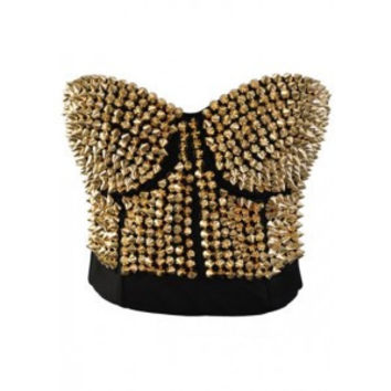 Steampunk Corset Bra and Gold Rivet