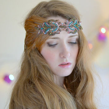Flapper headband, beaded headband, Great Gatsby Headpiece, Downton Abbey, Art Deco, vintage headband