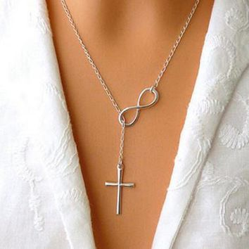 Necklace women infinity symbol luck cross pendant necklaces party gift   charm chain necklace jewelry