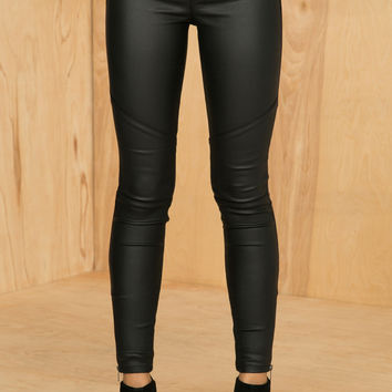 Faux Leather Zip Leggings- FINAL SALE