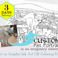 Custom Pet Portrait, Personalized Coloring Book, Art Pet Sketch, Adult Coloring Book,ink drawing, art coloring book,Black and White Portrait