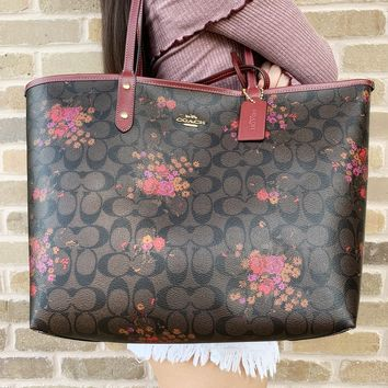 Coach F36658 Reversible City Tote Signature Brown Red Floral