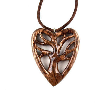 Wooden Heart Pendant, Wood Heart Necklace, Tree of Life Necklace, Wooden Tree of Life Pendant, Heart Pendant, 5th Anniversary Gift for Her