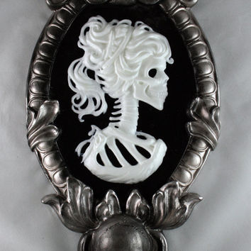 Gothic Victorian Lady Skeleton Cameo in silver tone frame - black light reactive