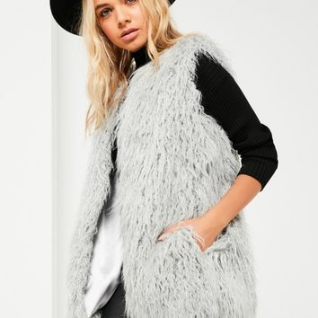 Missguided - Grey Faux Fur Gilet